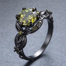 Olive Green Peridot Flower Shape Wedding Ring Black Gold Jewelry Women Size 7