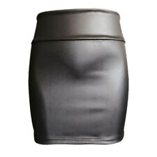 Señoras sexy negro PU cuero lápiz color sólido alta cintura mini falda corta QE