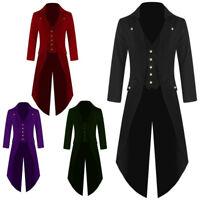 Men Vintage Tuxedo Tail Jacket Coat Steampunk Gothic Coat Uniforms Spring/Fall
