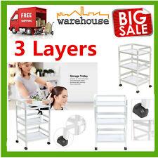 3 Layers Rolling Trolley Cart Hair Beauty Salon Spa Storage Equipment Organizer
