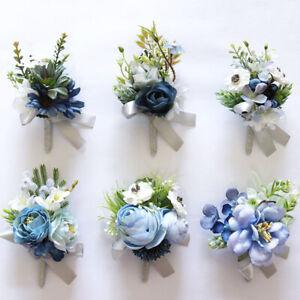 Ribbon Blue Flower Wrist Corsage Wedding, Bride, Bridesmaid Flower girls,Proms
