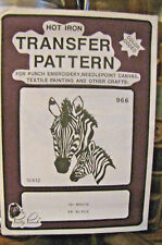 Pretty Punch Iron Transfer Pattern, Punch Embroidery, etc. Zebras #966 -NOS