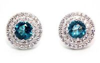 Sterling Silver Sky Blue Topaz & Diamond 3.12ct Stud Earring (925)