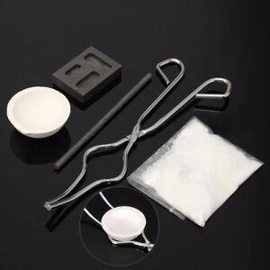 5pcs/Set Torch Melting Kit Gold & Silver Crucible Tong Rod Graphite Ingot Mold