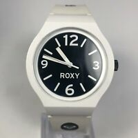 Roxy RWWA005 Womens The Prism White Rubber Band Black Dial Quartz Analog Watch