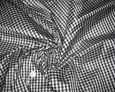 SMALL GINGHAM BLACK & WHITE 100% SILK PURE SILK FABRIC for BLOUSE DRESS SKIRT