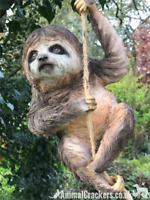 Climbing Sloth swinging on rope tree garden ornament decoration Sloth lover gift