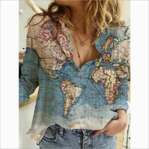 Women's Fashion Atlas Print Turn Down Collar Long Sleeves Casual Shirt Top SKGB