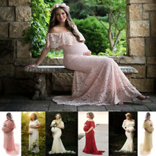 Off Shoulder Pregnant Mermaid Dress Lace Maternity Maxi Gown Photography Prop
