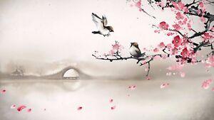 Birds Bridge - Pink Flowers Landscape Painting Art Poster / Canvas Pictures