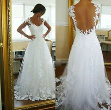 New White/Ivory Lace Backless Bridal Wedding Dress Prom Party Deb Evening Ball