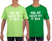Ask Me About My T-Rex Dinosaur Gift Party Dino Flip Gift Kids T-shirt