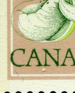 Weeda Canada 711a VF MNH LL corner block of 25, printing shift of dark green