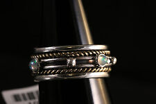 Three Tone Band 925 Silver Copper spin unisex Ring Size 9