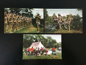 3x 1907 'Life In Our Army' Series Ettlinger Military Postcards