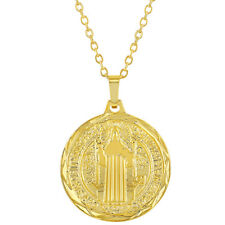 18k Gold Plated Reversible St Benedict Religious Medal Pendant Necklace 19""