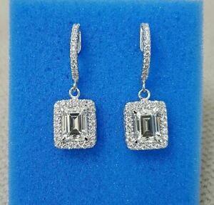 4Ct Emerald White Moissanite Halo Drop/Dangle Earrings 925 Sterling Silver