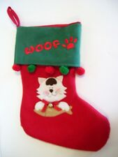 RED & GREEN FELT CAT WOOF CHRISTMAS STOCKING DECORATION MANTLE