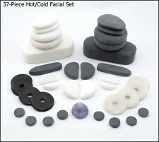HOT/COLD STONE MASSAGE 37-Piece Facial Set Basalt, Marble, Obsidian, White Jade