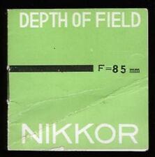 Nikon Rangefinder lens DOF pamplet 85mm F1.5 or f2.0