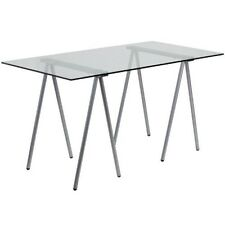 Flash Furniture Glass Computer Desk w/Silver Frame Nan-Jn-2119-Gg New