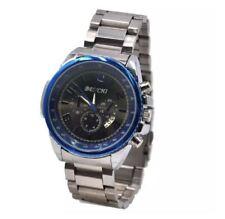 DOOKA BENCHI Men's Metallic Blue Bezel Stainless Steel Wrist Watch (Dark Grey)