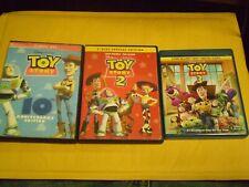 (3) Disney Pixar Toy Story Children's Blu-Ray/Dvd Lot: Toy Story 1, 2 & 3