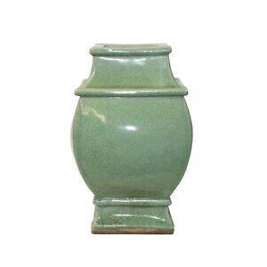 Chinese Ceramic Crackle Pattern Square Curve Body Celadon Green Vase ws1067