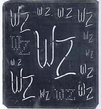 Große Monogramm Schablone  WZ  Jugendstil  Weißblech 15,5 x 18 cm Weissstickerei