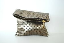 NWT handmade New York leather clutch antique gold perforated metallic lambskin