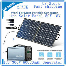 2Pack 300W 60000mAh Solar Generator Cpap Battery Charger + 50W 18V Solar Panel