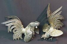 19èm jolie paire sculptures coqs de combat 25cm2.6kg bronze argenté très déco ++