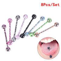 8PC/Set Mischen Mode Bunte Edelstahl Ball Tongue Bar Ring Piercing Schmuck J xj