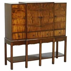 FINE VINTAGE WARING & GILLOWS LTD FULLY STAMPED FLAMED MAHOGANY DRINKS CABINET