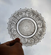 Vintage Rare Unique Clear Glass Design Engraved Carnival Plate, Japan