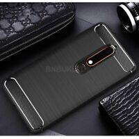 For Nokia 6 (2018) / 6.1Carbon Fibre Gel Case Cover Brushed Shockproof Hybrid