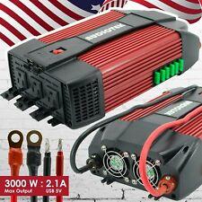 Audiotek 3000W Watt Power Inverter DC 12V AC 110V Car Converter USB port Charger