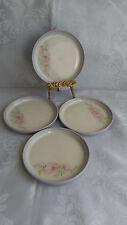 4 x Hornsea Lancaster Vitramic Lilac Edge With Pink Flowers Tea Side Plates 17cm
