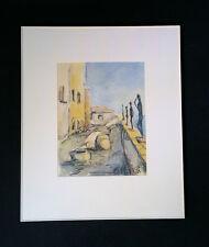 BELLO ORIGINALE acquerello: ITALIANO küstenpromenade. monogrammato gk93