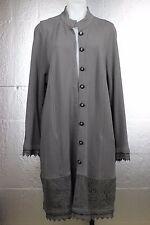 Soft Surroundings Boho Lace Crochet Cuff Hem Pockets Gray Jersey Long Coat 1X