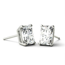 Basket Studs Solitaire Earrings 1.40 Ct Radiant Moissanite Colorless Def