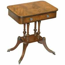 LOVELY FLAMED MAHOGANY SINGLE DRAWER FOUR PILLAR BASE SIDE END LAMP WINE TABLE