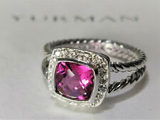 David yurman Albion Petite Ring with 7mm Pink Tourmaline and diamonds, size 7