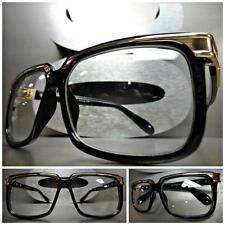 Men or Women CLASSIC VINTAGE RETRO Style Clear Lens EYE GLASSES Black Gold Frame