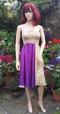 Fair Trade Sari Fabric Purple Halter Dress or Skirt Boho Holiday Freesize 6-16