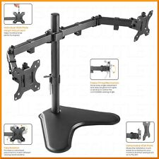 """DUAL DOUBLE LCD MONITOR STAND MOUNT ARM FREESTANDING ADJUSTABLE 2 SCREENS 15-32"""""""