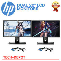 "DUAL Matching HP 22"" Widescreen LCD Monitors Pair with cables Gaming / Office A"