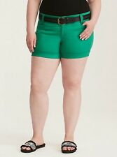 NWT Torrid Plus Size 18 Kelly Green Belted Satin Shorts (54-22)