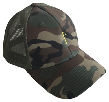 Small Christian Cross Mid Profile Mesh Trucker Cap Caps Hat Woodland Camo Gold