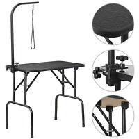 "32"" Portable Pet Dog Grooming Table Foldable w/ Large Adjustable Arm/Noose Black"